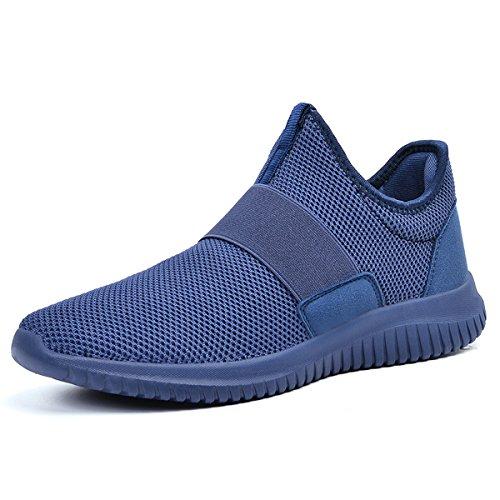 Qansi Heren Sneakers Ademend Lichtgewicht Sportschoenen Mesh Fashion Sneakers Blauw