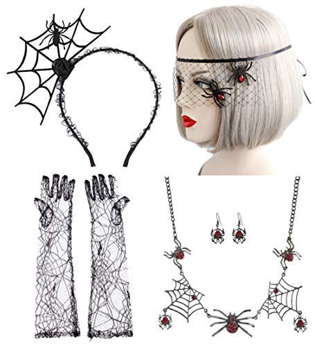 Halloween Gothic Lace Spider Necklace Earring Bracelet Set (#1) ()