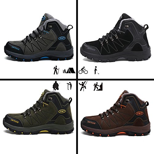 Men's Hiking Boots Trekking Shoes Slip on Outdoor Sports Camping Climbing Sneaker Double-Sided Plush Vamp 7-green nFsMG