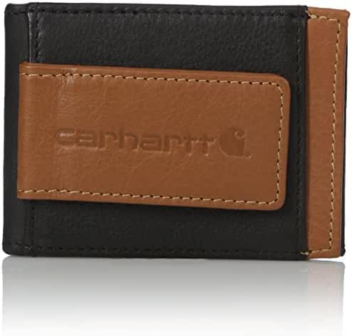Carhartt Men's Black and Tan RFID Blocking Magnetic Card Holder