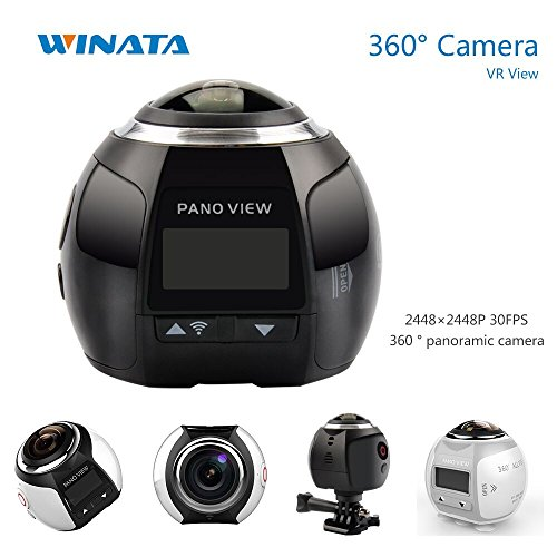 4K 360 Action Camera Panoramic Camera 2448*2448 Ultra HD Panorama 360 Degree Video Cameras Deportiva Wifi Sport Cam Driving VR Camera--Black