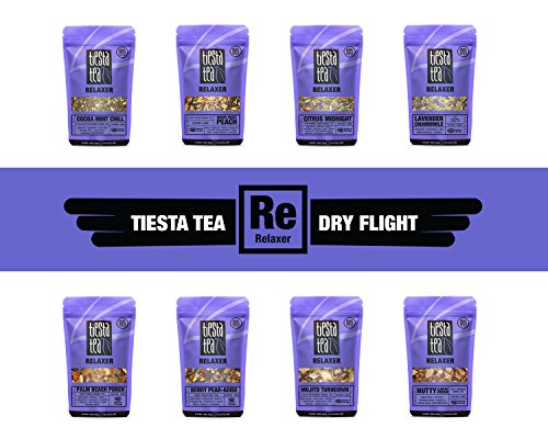 Tiesta Tea Dry Flight Sampler, Relaxer Teas, 7 Count 1 Ounce Pouches, Loose Leaf Herbal Tea Blends, 8 to 12 Servings of Each Flavor, Gift ()