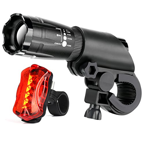 Bicycle Light Set - Front and Back Bike Light Waterproof LED Headlight 5 LED Taillight, Bright Cycling Safety Rear and Flashlight, Fits All Bikes, Quick-Release 5 Led Front Light