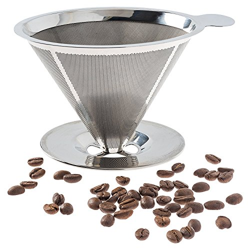 Pour Over Coffee Filter - Stainless Steel Reusable Coffee Maker and Paperless Coffee Dripper by Sweet-Life