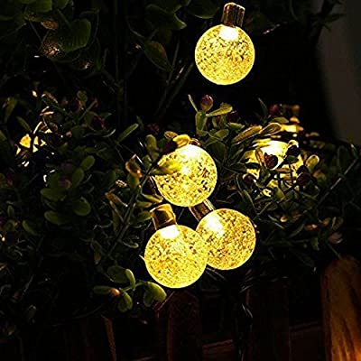 20ft 30 LED Fairy String Lights - Solar Outdoor String Lights - Waterproof Garden Decor Solar Lights - Crystal Ball Christmas Solar Lights for Garden Fence Path Landscape Decoration