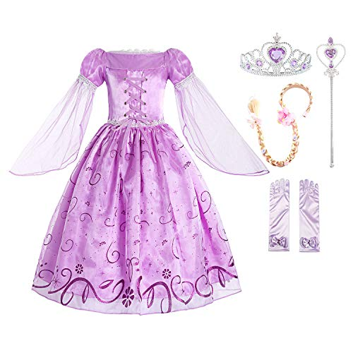 ReliBeauty Little Girls Rapunzel Costume Mesh Sleeve Princess Fancy Dress with Accessories, 3T-4T/100, Lavender -