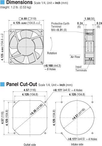 ORIX Single-Phase 115 VAC Axial Cooling Fan - 4.69 in. (W) X 4.69 in. (H) [119 mm (W) X 119 mm (H)]