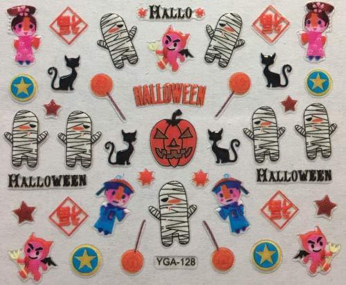 Nail Art 3D Decal Stickers Halloween Mummy Black Cat Devil Pumpkin YGA128]()