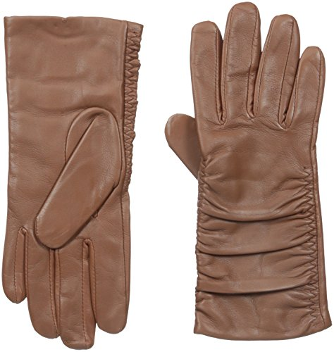 Adrienne Vittadini Women's Leather Gloves with 100 Percent Cashmere Lining, Cognac, Small