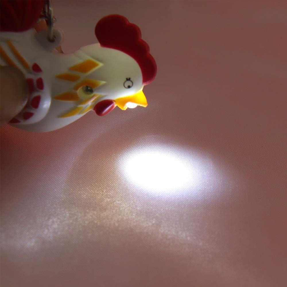 YCEOT Portachiavi a LED Carino con Luce Sonora Torcia elettrica Gallo Portachiavi Portachiavi per Auto Portachiavi Regalo Giocattoli per Bambini