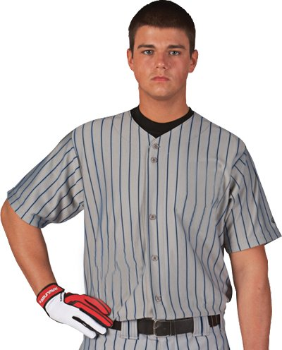 Rawlings Youth Full Button Pinstriped RYBBJ95 Jersey, Dodger Grey with Navy Pinstripes, Youth Medium