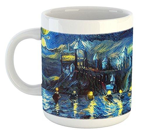 Starry Night Castle Night Boats 11oz Coffee Mug, Magical Art, Van Gogh Starry Night Art, Fan, For Her, Birthday, Gift