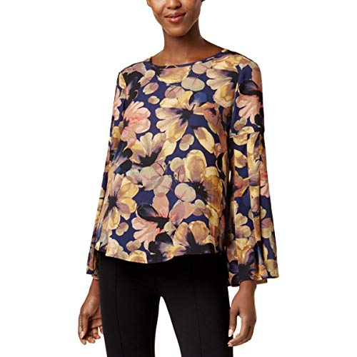 (Cable & Gauge Womens Bell Sleeve Gathered Blouse Beige S)