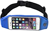 NOKEA Running Belt Waist Pack with Zipper for iPhone 6, 6S, 6 Plus, 6S Plus, Samsung Galaxy S5, S6, S7,Edge, Note 3, 4, 5, LG G3 G4 G5, Water Resistant Expandable Runners Waist Belt Bag (Blue)