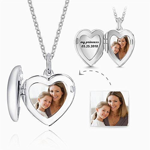 - Personalized 925 Sterling Silver Heart Locket Picture Pendant Charm Necklace Custom Any Photo for Family
