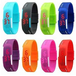 Buyterest 2015 Nuevo reloj de pulsera de silicona deportivo para hombres, mujeres y niños con pantalla táctil con luz LED roja (8 unidades)