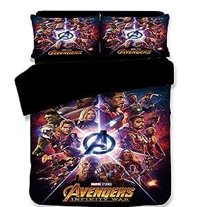 AMTAN 3D Marvel Avengers Duvet Cover Set Spider-Man Iron-Man Best Gifts for Movie Funs 100% Microfiber Bedding Children Cartoon 3-Piece Bet Set 1Duvet Cover 1Pillowshams King Queen Full Twin