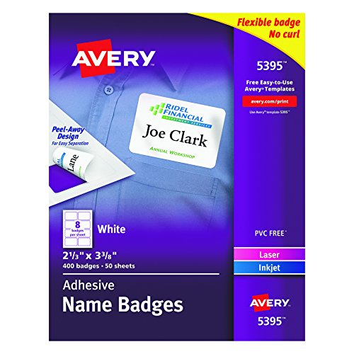 Avery Laser Name Badge (Avery Adhesive Name Badges, 2.33 x 3.38 Inches, White, Box of 400 (05395))