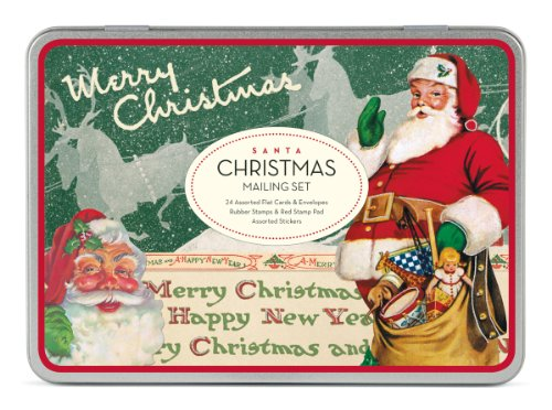 Cavallini Christmas Santa Mailing Sets, 24 Assorted Cards with Envelopes