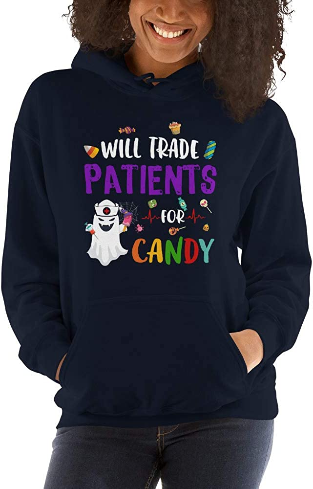 TEEPOMY Will Trade Patients for Candy Funny Nurse Halloween Unisex Hoodie