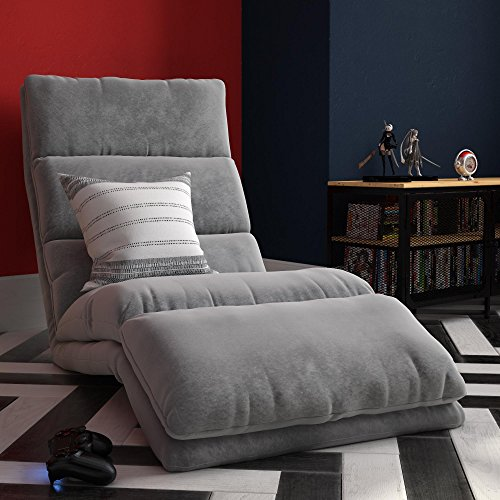 Bayley Adjustable Wave Folding Chaise Lounger Floor Chair with Memory Foam, Grey Microfiber