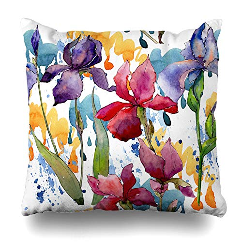 Iris Blossom - Ahawoso Throw Pillow Covers Vintage Bio Wildflower Iris Flower Pattern Watercolor Drawn Nature Green Blossom Botanical Bud Home Decor Pillowcase Square Size 20