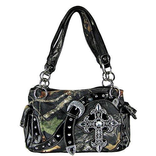(Mossy Camo Rhinestone Maltese Cross and Buckle Shoulder Handbag Black)