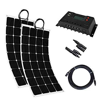 MabelStar 200 Watt Solar System Kit / 2 Pcs Solar Panel Bendable Flexible Solar Panel With Solar Charge Controller Cable Battery Charger for for RV Boat Cabin Tent Car, Off-Grid