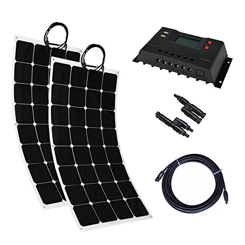 MabelStar 200 Watt Solar System Kit 2 Pcs Solar Panel Bendable Flexible Solar Panel With Solar Charge Controller Cable Battery Charger for for RV Boat Cabin Tent Car, Off-Grid