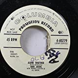 JERRI ADAMS WITH PERCY FAITH & HIS ORCH. 45 RPM ALONE TOGETHER / TWO'S A CROWD (WHEN ONLY ONE'S IN LOVE)