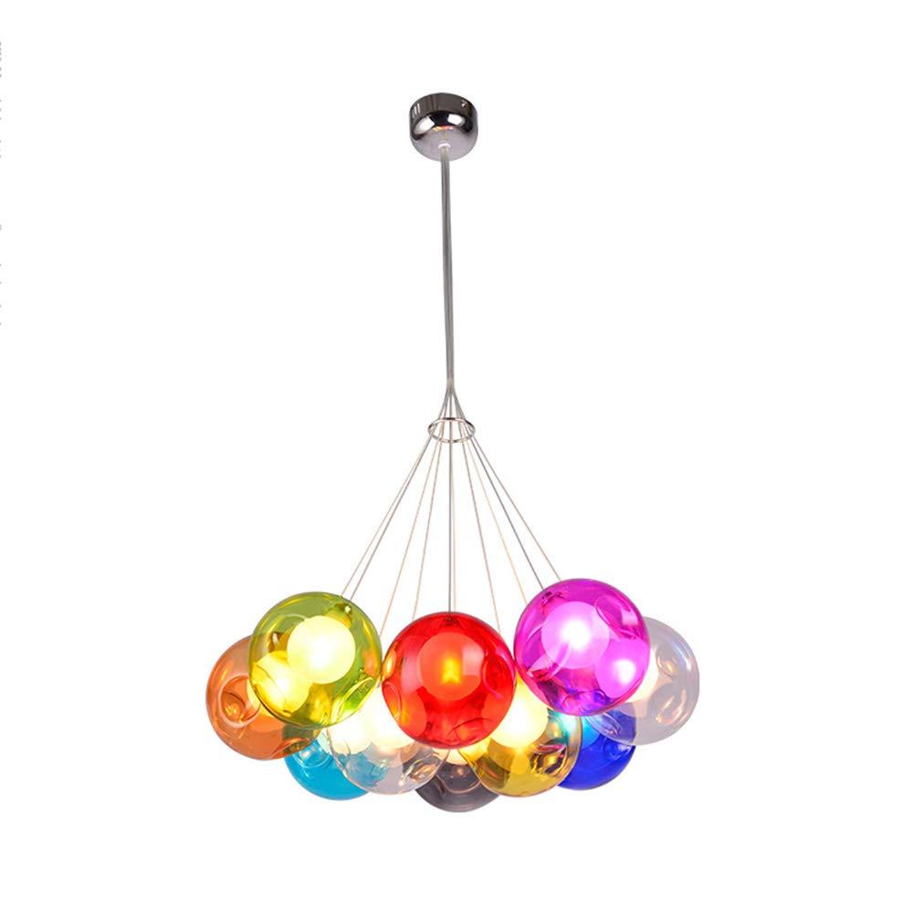 Modern Pendelleuchte Höhenverstellbar Pendellampe Kristall Hängelampe Bunte Glas Hängeleuchte mit für Kinderzimmer Wohnzimmer Kronleuchter, Inklusiv Glühbirne,10Kopf