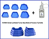 IVORIE® Dental Lab Model Former Base Molds Blue Color Two Types (6 Pcs/Box) and Precision Tip Bottle