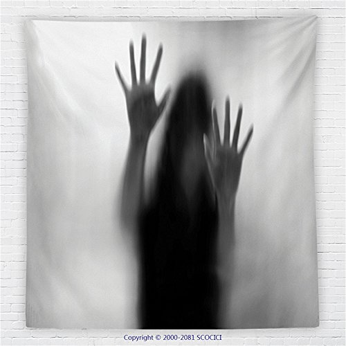 59 x 59 Inches Horror House Decor Fleece Throw Blanket Silhouette of Woman behind the Veil Scared to Death Obscured Paranormal Photo Blanket Gray by iPrint