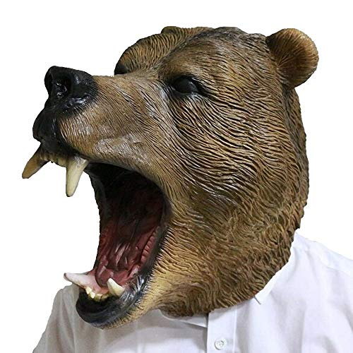 Grizzly Bear Head Mask for Adults Latex Mask Animal Halloween Carnival Costume Fancy Dress Party Cosplay -