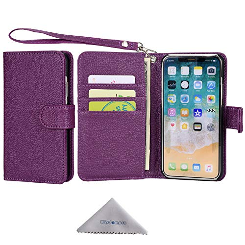 iPhone Xs Case, iPhone X Case, Wisdompro Premium PU Leather 2-in-1 Protective [Folio Flip Wallet] Kickstand Case with Credit Card Holder/Slots and Wrist Lanyard for Apple iPhone X/Xs (Purple)