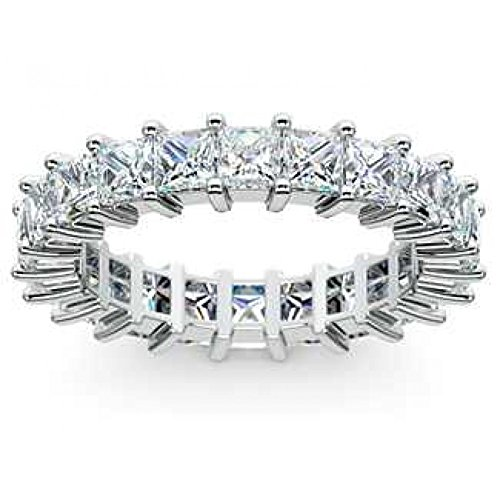 4.00 ct Ladies Princess Cut Diamond Eternity Band in Prong Set in Platinum In Size 13.5