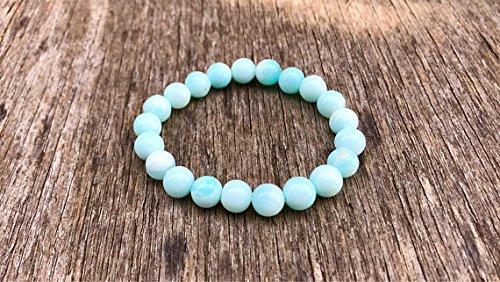 JP_Beads Dainty Peruvian Blue Opal Bracelet 7mm Blue Opal Beaded Stretch Bracelet Light Blue and White Opal Stack Bracelet Unisex Gift Bracelet ()