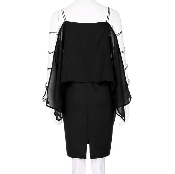 JYC Vestidos Mujer Vintage Elegantes Sin Manga, Suelto Casual cortar, Vestido Recto Volantes los Puños, Mujer Más tamaño Escalera Cortar Cubrir Asimétrico ...