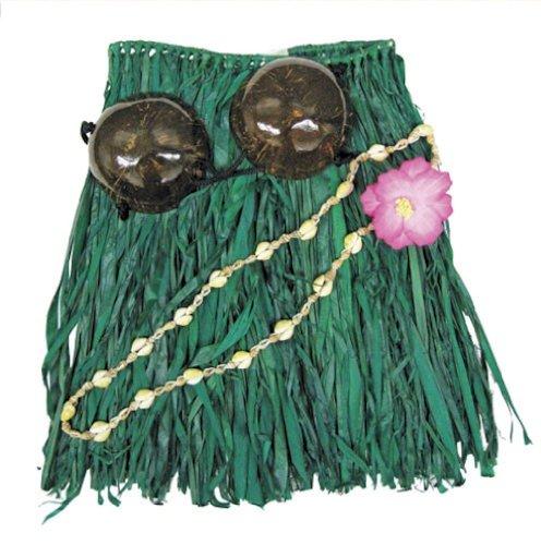 [Hawaiian Grass Skirt Set Coconut Bra Top Green Toddler] (Tiki Costumes)