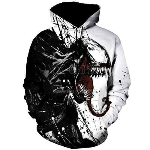 3D Hoodies Unisex 3D Printed Spiderman Venom Villain Skull Hoodie Funny Hoodies Black
