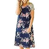 New Fashion Women Floral Print Short Sleeve Loose Fit Dress Short Sundress (XL, Blue)