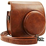 Blummy PU Leather Instax Mini 9 Camera Case for Fujifilm Instax Mini 8/Mini 8+/Mini 9 Instant Camera with Adjustable Strap and Pocket (Brown)