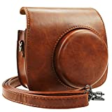 #7: Blummy PU Leather Instax Mini 9 Camera Case for Fujifilm Instax Mini 8/Mini 8+/Mini 9 Instant Camera with Adjustable Strap and Pocket (Brown)