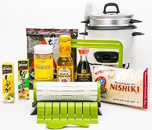 sushiquik complete sushi making starter kit with aroma rice cooker sushi making kit. Black Bedroom Furniture Sets. Home Design Ideas