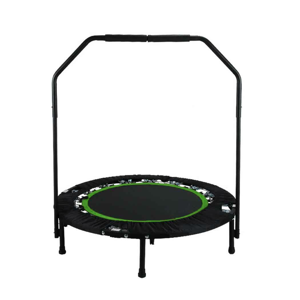 Jaketen 40'' Foldable Rebounder Trampoline with Adjustable Handle Indoor Exercise Fitness Mini Trampoline for Adults or Kids (Green- Leg Can't Adjust)