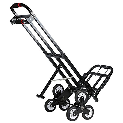 Mecete Enhanced Stair Climbing Cart Portable Climbing Cart 460 lb largest Capacity All Terrain Stair Climbing Hand Truck Heavy Duty with 6 Wheels (Black) Baking Varnish Surface Shining by Mecete