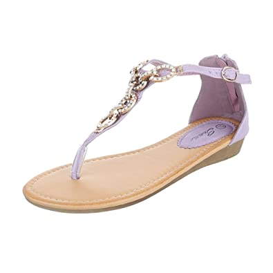 Damenschuhe Toe Sandalensandaletten Peep Design Zehentrenner Ital Reißverschluss ybgv7Yf6
