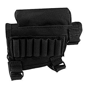 Portable Adjustable Tactical Buttstock Rifle Shell Holder,AOFU Tactical Cheek Rest Pouch Holder Pack with Ammo Carrier Case Ammunition for. 308 or. 300 winmag (Black)
