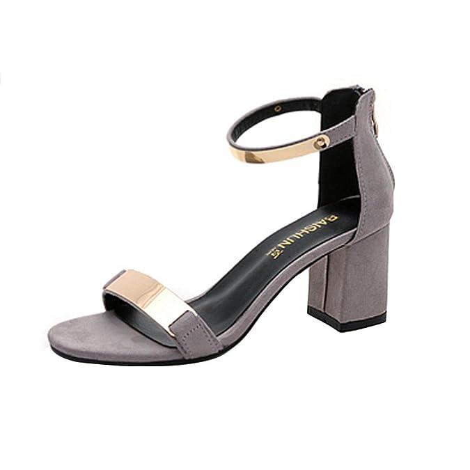 5b1ccc629b9542 LuckyGirls Sandales D'été des Femmes, De La Mode Open Toe Sangle Talon  épais Gladiateur Chaussures: Amazon.fr: Chaussures et Sacs