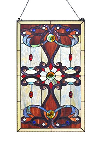 Framed Window Windows - LDGJ Brandi Collection Stained Glass Panel: 26 Inch Decorative Window Hanging - Tiffany Style Framed Hangings for the Wall or Windows - Large Vertical Decoration in Brown